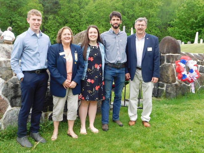 Local DAR chapters honored this year's Good Citizen Award winners Sunday at the Herkimer Home State Historic Site. From left are Aidan Ainsley, of Mount Markham High School; Theresa Gifford, who chaired the Good Citizen Awards; Maggie Burdick, or West Canada Valley High School; Cole Bobnick, of Richfield Springs High School; and State Assemblyman Brian Miller, who spoke during the event.