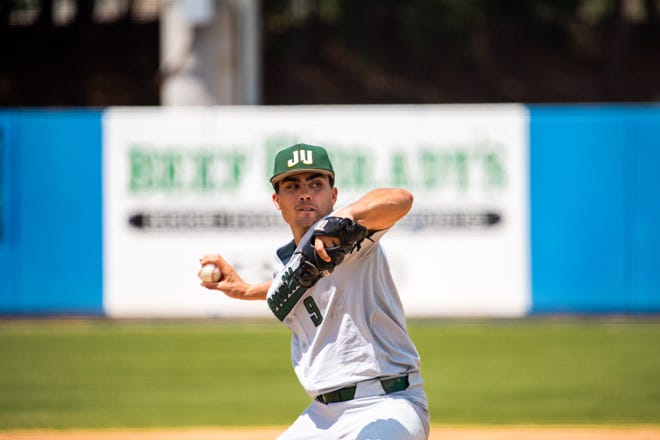 Jacksonville University senior pitcher Mike Cassala led the Dolphins to a 17-1 victory over Florida Gulf Coast on Sunday to reach the final four of the ASUN baseball tournament.