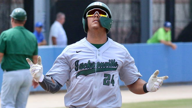 Duncan Hunter helped Jacksonville University reach the ASUN tournament semifinals with a home run last Sunday in a 17-1 victory over Florida Gulf Coast.