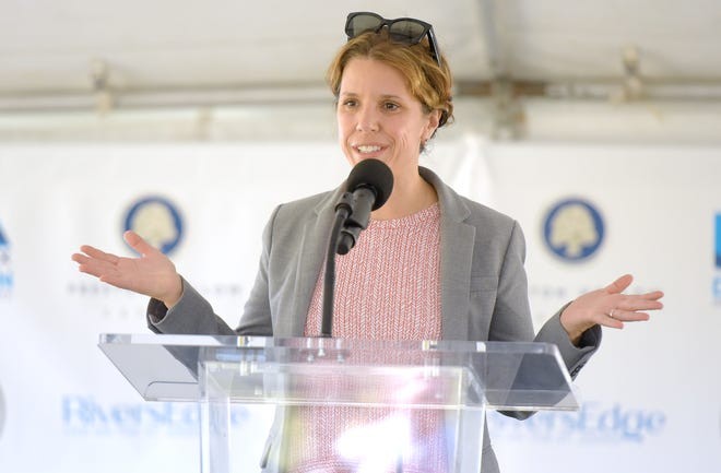 """Jacksonville City Council member LeAnna Cumber, shown here at at groundbreaking ceremony for the Rivers Edge development in downtown, said she is """"seriously considering"""" a run for mayor in March 2023."""