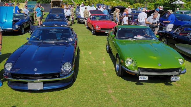 A group of classic Datsun 240Zs joined the 450 cars on display at Cars & Coffee at the Concours.