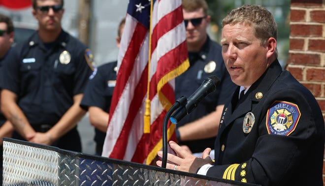 Division Chief, City of Shelby Fire & Rescue, David Vanhoy gives words of welcome during the annual Cleveland County Fallen Firefighter Memorial Service held Tuesday afternoon, May 25, 2021, at Fallen Heroes Memorial Park in Shelby.