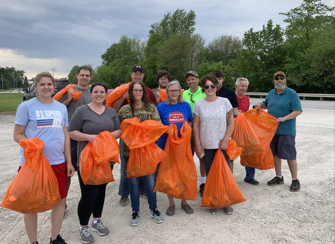 """Volunteers from the Henry County Republicans gathered on Monday evening for spring clean up on IL 81/82 east of Cambridge. """"The group has volunteered annually since the program was started by Illinois Department of Transportation over 15 years ago"""" said Jan Weber. Weber is chairman of the Henry County Republicans. """"We are happy to give our time to help keep  our public roads clear of litter."""""""