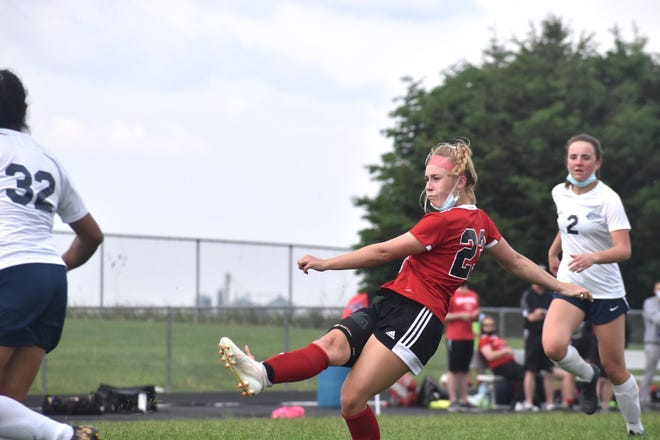 Miriam Clarke of Orion-Sherrard takes a shot during the match with Monmouth-Roseville on Wednesday, May 19, when United hosted the Monmouth-Roseville Titans