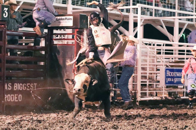 A bull rider attempts an eight second ride at the 2020 Phillipsburg rodeo. Tickets go on sale online June 1 at www.kansasbiggestrodeo.com.