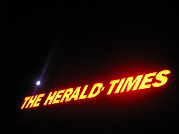 The Herald-Times building on South Walnut Street in Bloomington.