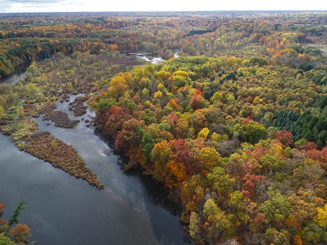The future site of the Armintrout-Milbocker nature preserve is pictured from above. The Southwest Michigan Land Conservancy announced in May it had secured acquisition funding for the property.