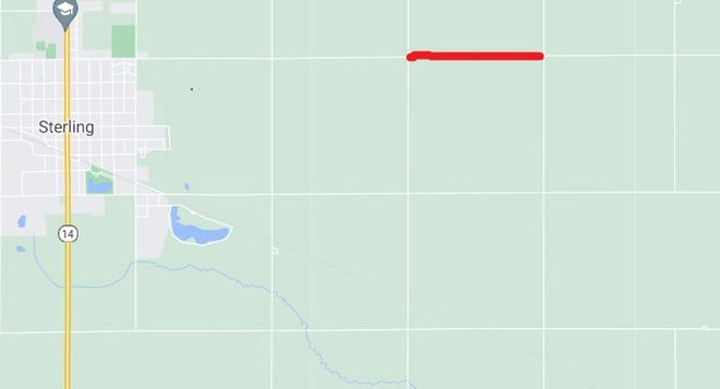 The red line on this map indicates the mile of Avenue V that will be closed for the next year for a bridge construction project that is part of the K-14 Northwest Passage realignment.