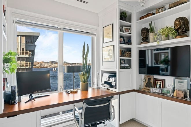 The home office area is easy to enjoy in Unit 308 at Burroughs Wharf. This home sold for $2,725,000 on Feb. 24.