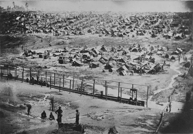 Photo of Andersonville Prison, Ga.,  circa 1864.
