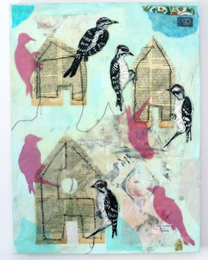 """""""Those Before Us,"""" encaustic and mixed media, 24""""x18"""" by Véronique Latimer."""