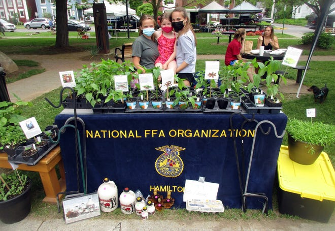 Hamilton Central School FFA sentinel Stephanie Bernard, left, Brinley Bossard, center, and HCS FFA student advisor McKinley Craven pose May 22 at the new FFA booth at the Hamilton Farmers Market. Four local FFA chapters will alternate selling and sharing their projects each Saturday at the market on the Village Green.