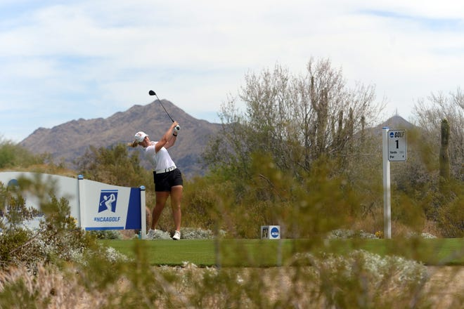 Oklahoma State golfer Maja Stark tees off on the first hole in an NCAA semifinal match against Duke on Tuesday in Scottsdale, Ariz.