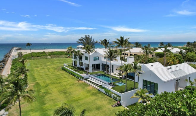 Priced at $79 million, a house completed last year at 149 E. Inlet Drive is the most expensive property listed this week in the Palm Beach Board of Realtors Multiple Listing Service. Broker Lawrence Moens of Lawrence A. Moens has the listing.