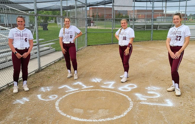 Charlevoix seniors (from left) Kate Klinger, Avery Zipp, Zoe Brodin and Madelyn Sandison were celebrated before Monday's games.