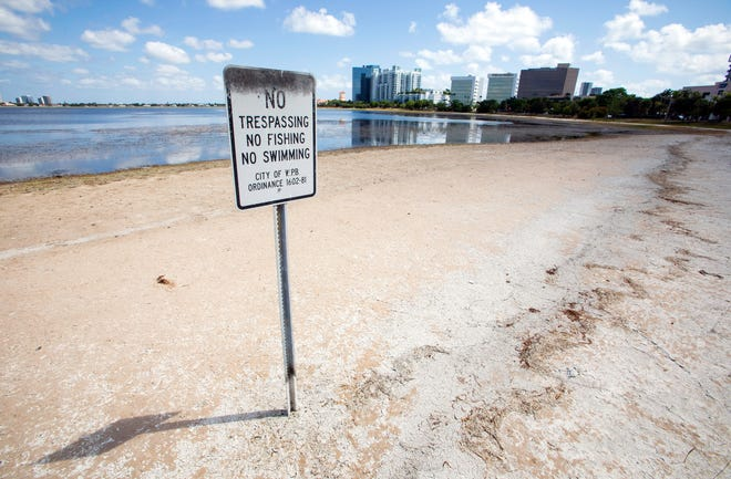 A sandy shore on Clear Lake in West Palm Beach Tuesday, May 25, 2021 shows the dwindling water supply as the city can't take water through the L8 canal because of algae blooms. Clear Lake is the source of water for West Palm Beach and Palm Beach.