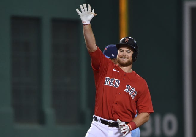 Apr 20, 2021; Boston, Massachusetts, USA;  Boston Red Sox second baseman Christian Arroyo (39) reacts after hitting a double during the fifth inning against the Toronto Blue Jays at Fenway Park. Mandatory Credit: Bob DeChiara-USA TODAY Sports