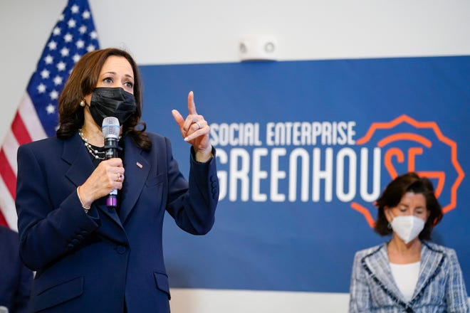 Vice President Kamala Harris speaks as she attends a meeting with Secretary of Commerce Gina Raimondo at the Social Enterprise Greenhouse in Providence earlier this month.