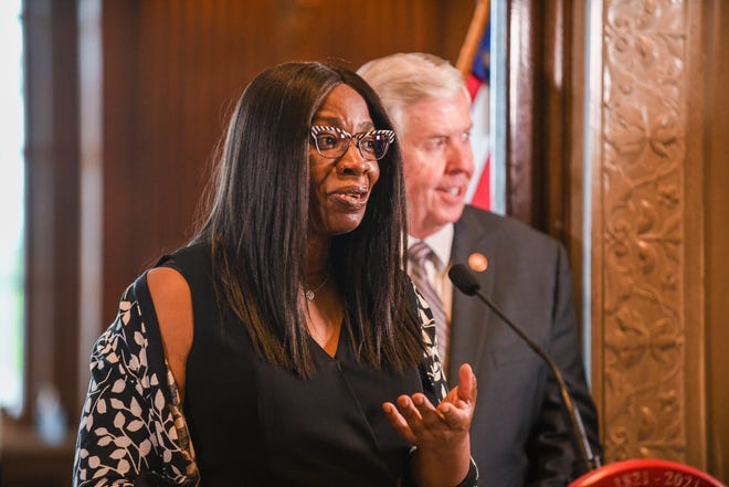 The newest member of the Missouri Supreme Court, Judge Robin Ransom, addresses the media after being introduced by Gov. Mike Parson during a press conference Monday, May 24, 2021, at Parson's Capitol office in Jefferson City, MO. Ransom was selected from 25 applicants for the position. (Julie Smith/The Jefferson City News-Tribune via AP)