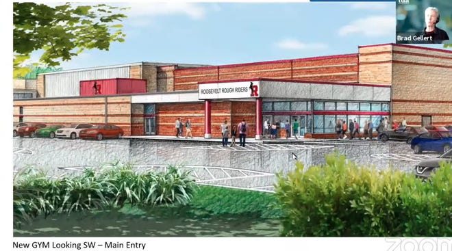 This is the front of the proposed new gym entry. The new competition gym would be added to the north side of Kent Roosevelt High School.