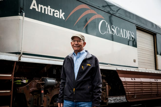 Rep. Peter DeFazio, seen here at the Eugene Station on May 24, 2021, secured funding that reinstates full Amtrak service from the current limited services caused by the pandemic.
