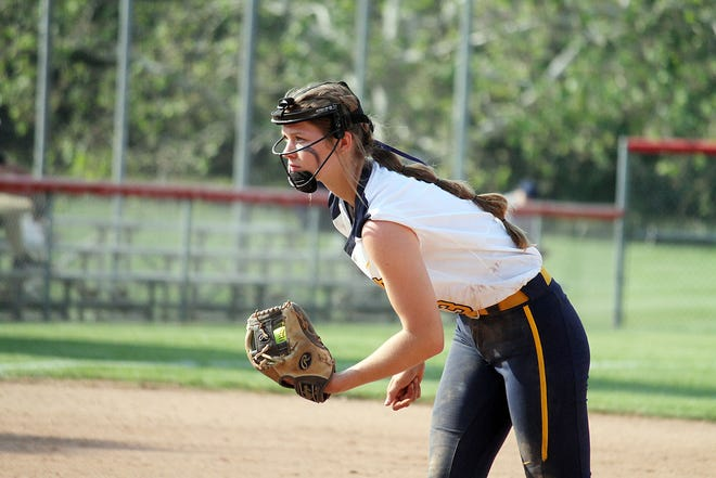 Mooresville sophomore Alex Cooper waits for a pitch call during the IHSAA Sectional game against Franklin Community.
