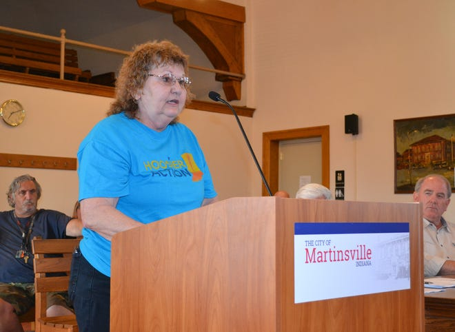 Martinsville resident Marianne Schell asks for the city's response to Twigg Corporation's response to the remediation of its contamination plume during Monday's city council meeting.