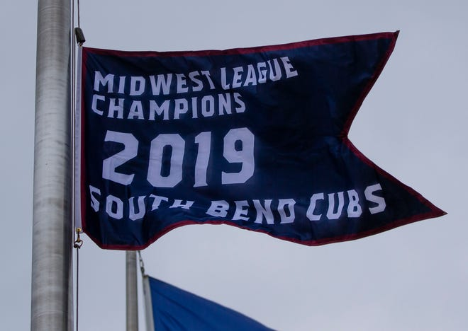 The 2019 championship bracket was raised before the Quad City Bandits at South Bend Cubs game Tuesday, May 4, 2021 at Four Winds Field in South Bend.