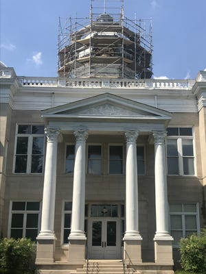 The roof of the old Cleveland County Courthouse is being repaired.