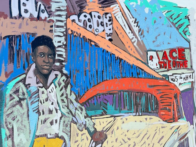 A DreamLarge mural by Tim Jaeger at 600 Central Ave. depicts the historic Ace Theater and a mystery man (later identified as Willie Rogers).