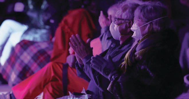 During the winter and spring, patrons were required to wear masks and sit in socially distanced seats for outdoor performances at Asolo Repertory Theatre's Terrace Stage.