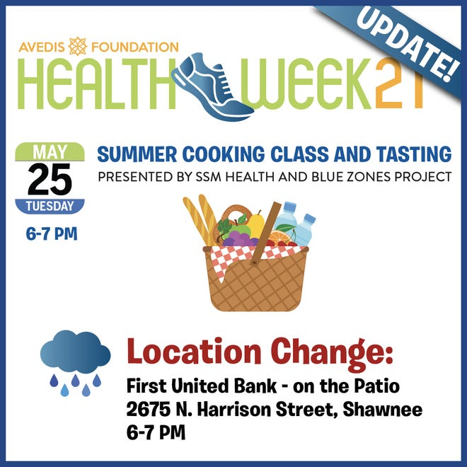 Because of rainy weather, Health Week's planned cooking class is shifting it's location.