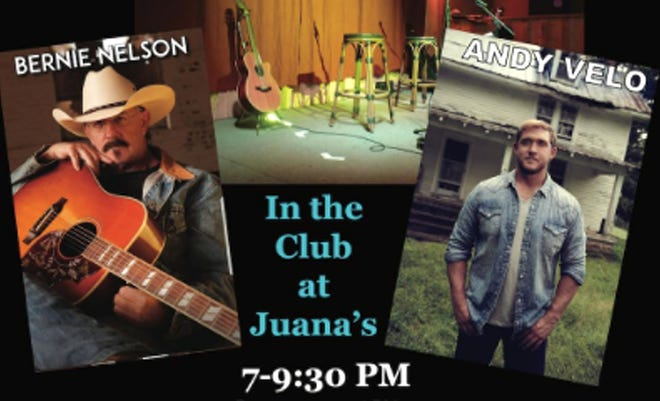 Songwriters Bernie Nelson and Andy Velo will tell guests the stories bhind the songs they create soon at Juana's Pagoda's in Navarre. Seating is limited.