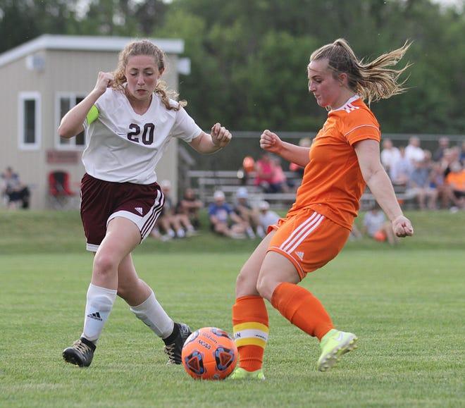 Allison Landess puts a shot on goal against Buchanan in prep soccer action on Monday.