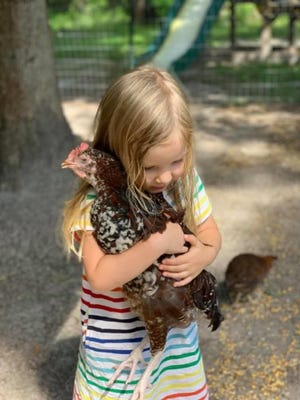 Tulani Lyon's daughter, Zoe, hugs a chicken in her backyard in Burgaw. After receiving a citation regarding a violation ordinance, she's planning to appeal it. [COURTESY PHOTO]
