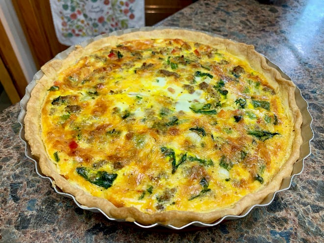 After preparing a pie crust and creating a simple custard of half and half and eggs, pretty much anything goes when making quiche.