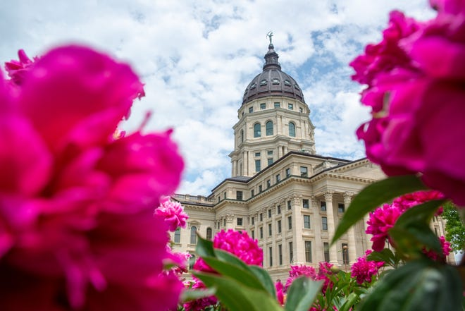 The Kansas Statehouse shines bright through a bed of peonies flowers Tuesday afternoon.