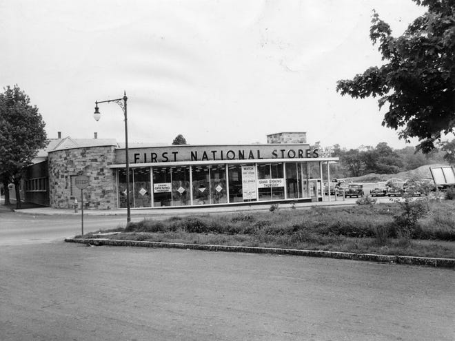 The First National Stores supermarket on West Boylston Street and Millbrook streets in 1946.