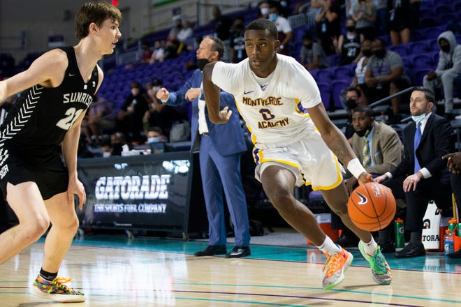 Montverde's Dariq Whitehead drives toward the basket during the GEICO Nationals Tournament boys championship game at Suncoast Credit Union Arena in Fort Myers on Saturday, April 3, 2021. Montverde Academy (Florida) beat Sunrise Christian Academy (Kansas) 62-52.  Ndn 0403 Ad Geico Nationals Boys 010
