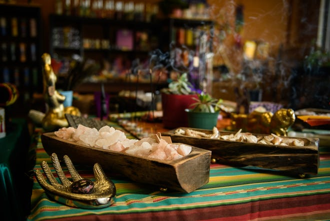 Crystals, incense and other items at Shatara Het Heru Bey's business, Divine Doula Goddess.
