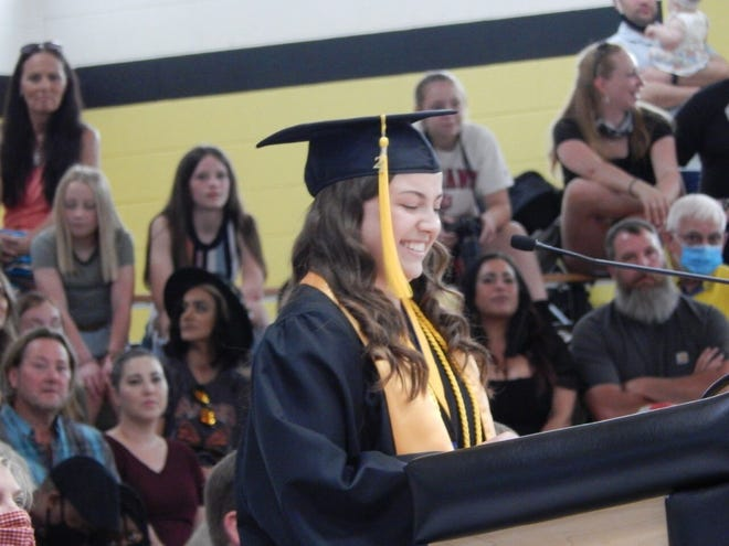 Springs Valley Class of 2021 Salutatorian Emily Weisensteiner reminded her classmates while being number two is not first, it is right behind, learning and growing.