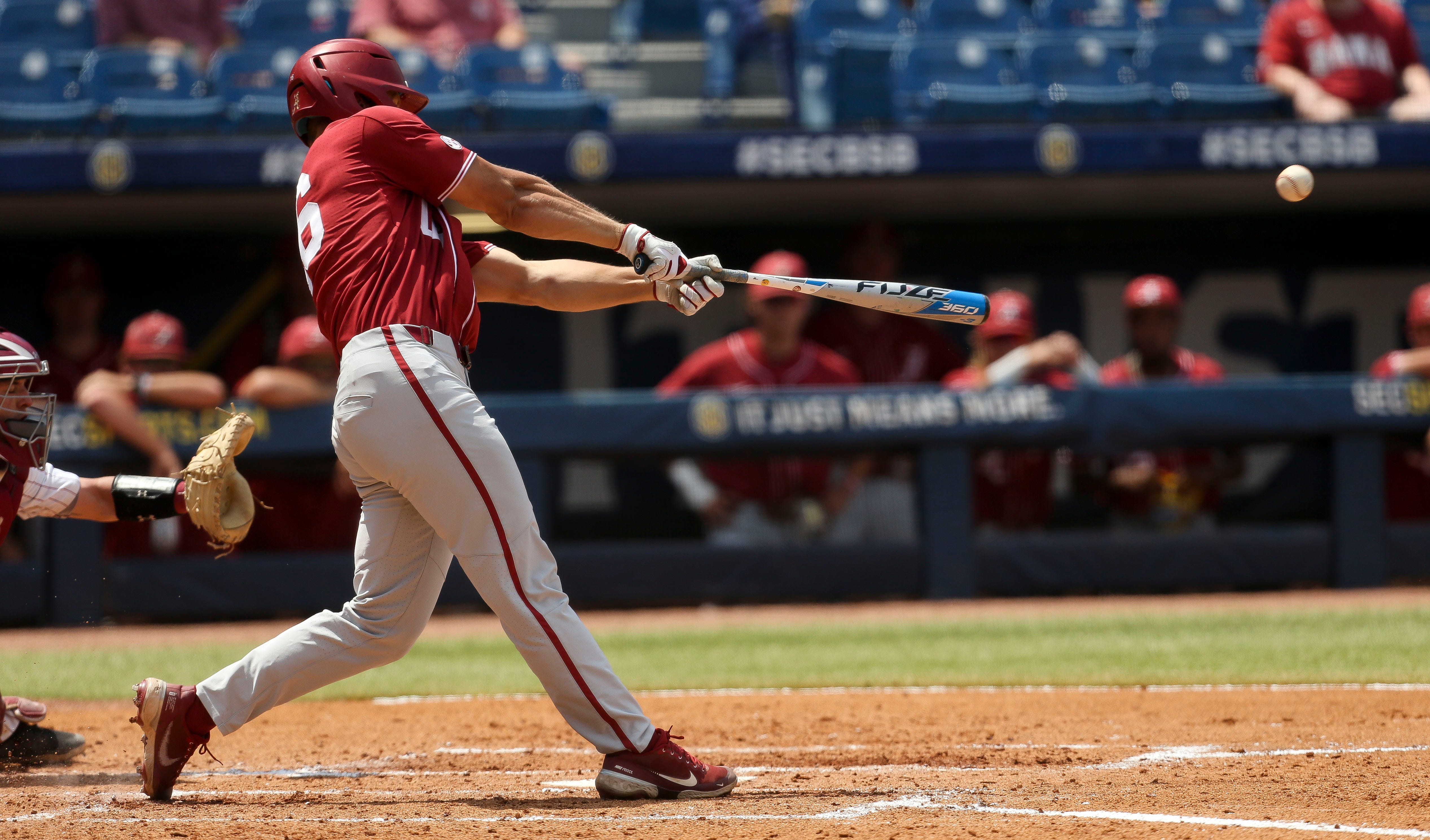 Alabama hitter Owen Diodati (16) connects for a two-run single against South Carolina during the SEC Tournament Tuesday, May 25, 2021, in the Hoover Met in Hoover, Alabama. [Staff Photo/Gary Cosby Jr.]