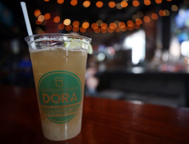All alcoholic drinks in Dublin's Designated Outdoor Refreshment Areain Bridge Park on the east side of the Scioto Riverand in the city's historicdistrict on the west bank are served in these DORA-marked cups.