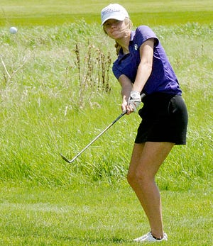 Watertown's Aspen Reynolds hits to the No. 1 green on Monday during the Arrow Girls Golf Invite at the Prairie Winds Golf Club.