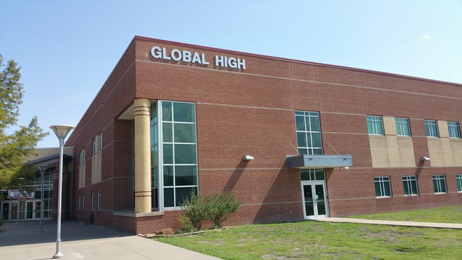 An exterior view of Waxahachie Global High School, which is an Early College High School with a focus on STEM (Science, Technology, Engineering and Math).