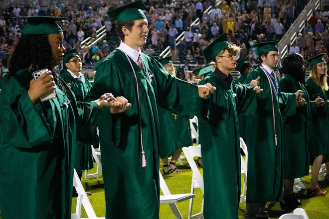 Waxahachie High School held its graduation ceremony for its Class of 2021 on Friday night in front of a capacity crowd at Lumpkins Stadium. Unlike the 2020 commencement, most COVID-19 protocols were optional by executive order from the governor.  The 2021 WHS graduating class included approximately 555 seniors, a record number. A fireworks display immediately followed.