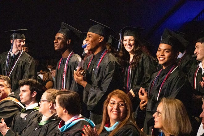 Approximately 80 seniors graduated from Waxahachie Global High School during the school's commencement on Saturday. The ceremony was relocated from Lumpkins Stadium to SAGU's Shaffer Center because of weather.