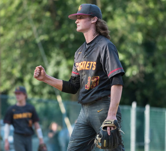 Haddon Heights' Shane Daly celebrates an out as he pitches during the baseball game between Haddon Heights and West Deptford played in Haddon Heights on Tuesday, May 25, 2021.