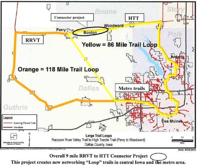 This map from the Dallas County Conservation Board shows the location of the planned connection between the Raccoon River Valley and High Trestle Trails. When the connection is completed, it will create two loops of 86 and 118 miles between the Raccoon River Valley and High Trestle Trails.