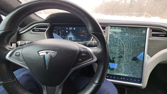 The 2015 Tesla Model S P90D wows with its 17-inch console screen and all-digital displays. The rest of the industry is still catching up to S tech.